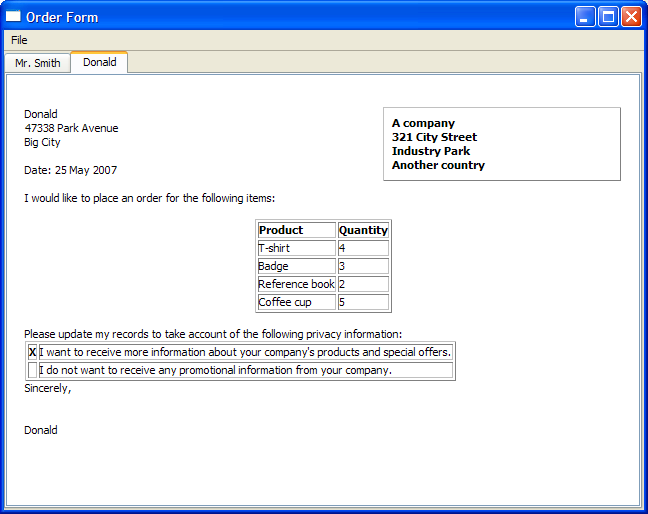 order form example