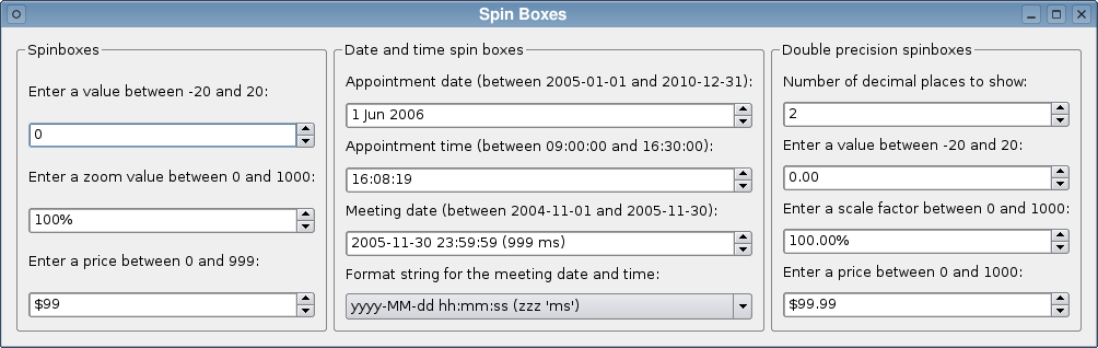 Qt 4 6: Spin Boxes Example