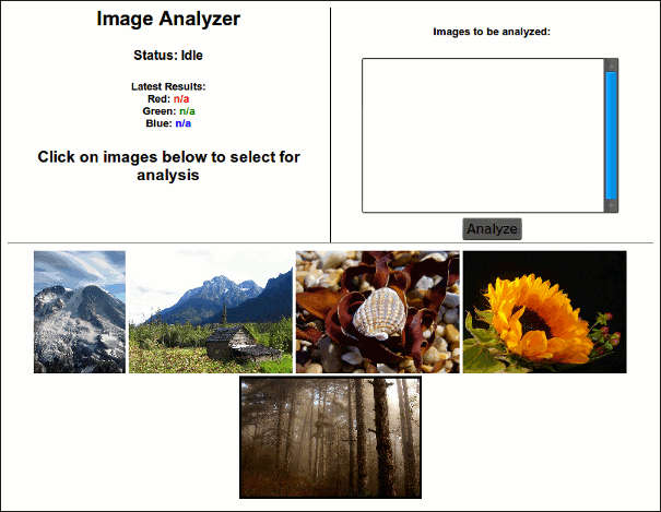 Now, we can click on Analyze, and each image is analyzed using some computationally intensive C++ function, in parallel and on different cores.