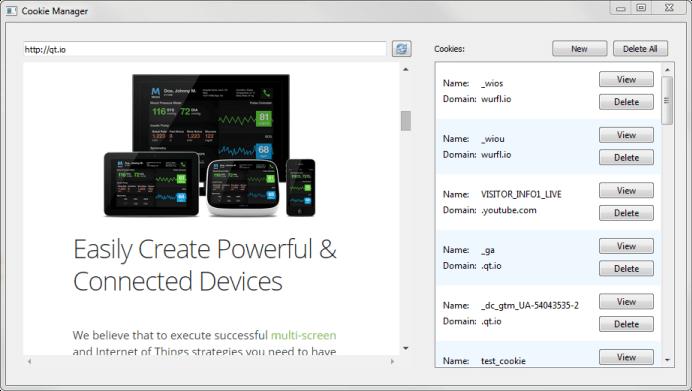 WebEngine Cookie Browser Example   Qt WebEngine 5 10
