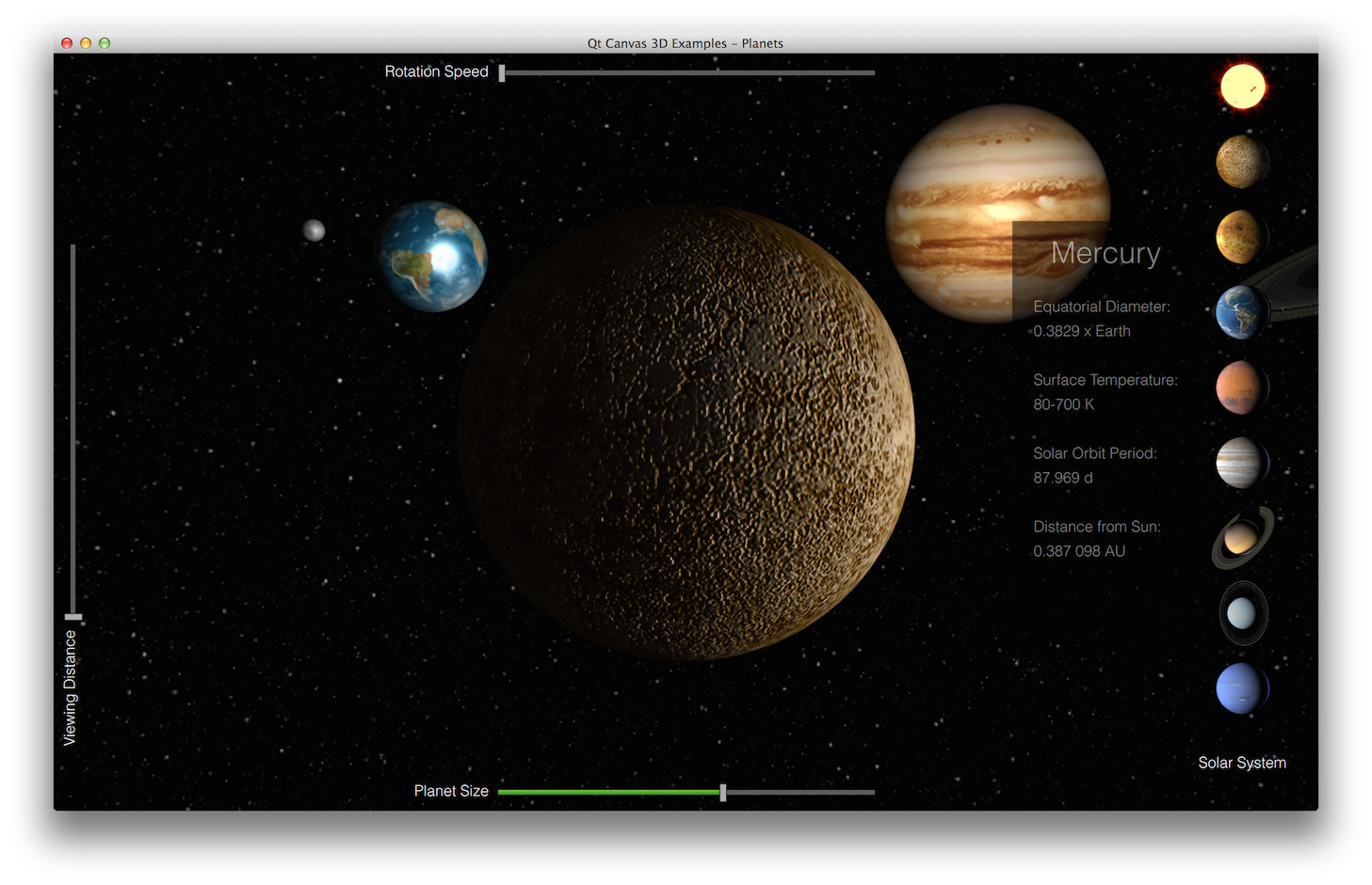 Planets example qt canvas 3d 510 the planets example demonstrates how to implement an application that combines the use of threejs library based canvas3d rendering with qt quick 2d baditri Image collections