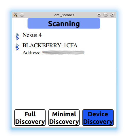 QML Bluetooth Scanner Example | Qt Bluetooth 5 11