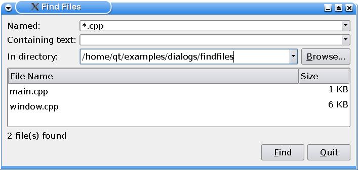 Find Files Example | Qt Widgets 5 9