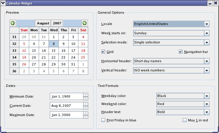 Qt Weekly Calendar : Calendar widget example