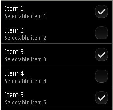 Qt Quick Components : Multi-Select Support for Symbian List