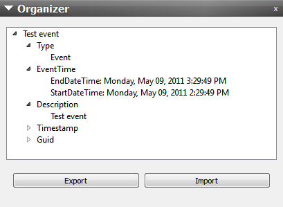 simulator : Importing Calendar Events