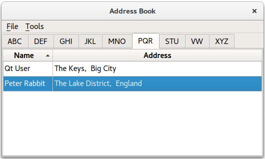 Address Book Example | Qt Widgets 5 13 0