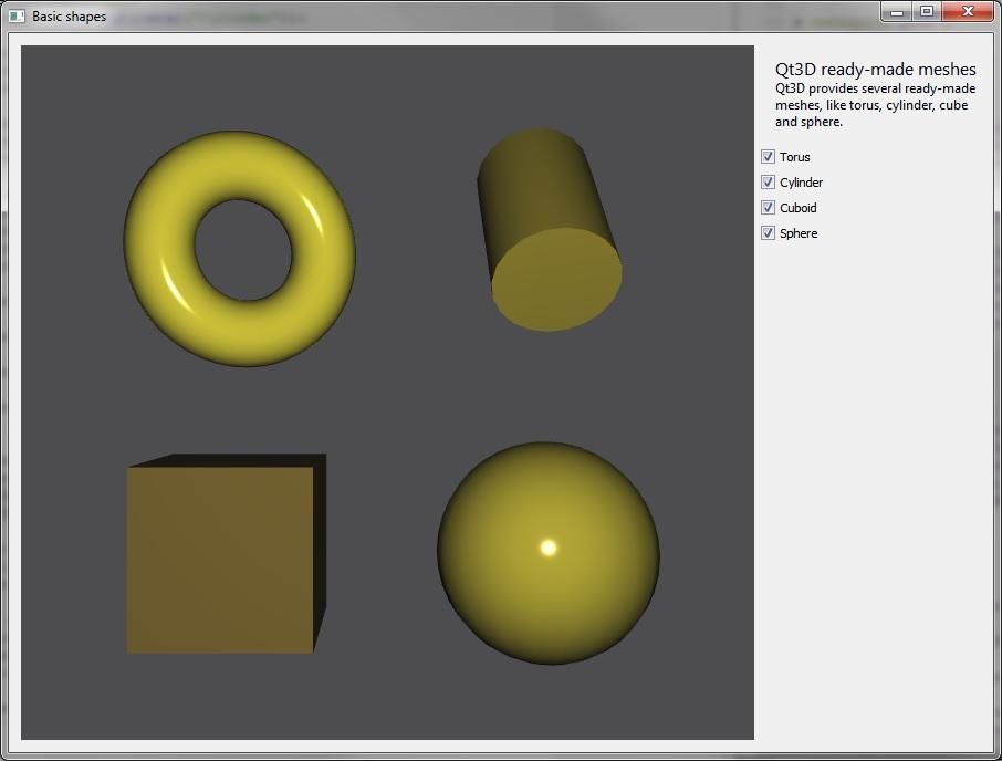 Qt 3D: Basic Shapes C++ Example | Qt 3D 5 13 0