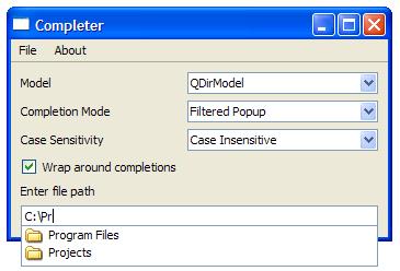 Completer Example | Qt Widgets 5 13 0