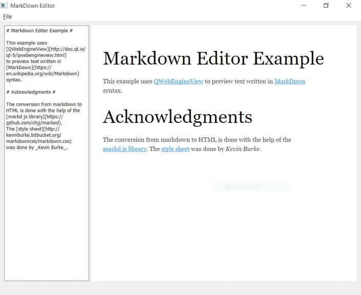 WebEngine Markdown Editor Example