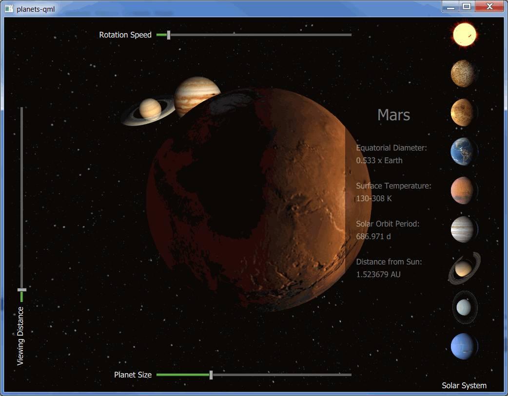 Qt 3D: Planets QML Example   Qt 3D 5 13 1
