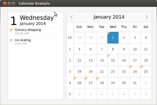 Qt Quick Controls 1 - Calendar Example | Qt Quick Controls 1