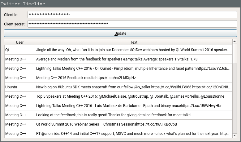 Twitter Timeline Example | Qt Network Authorization 5 13 1