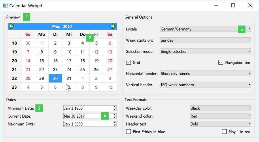 Qt Weekly Calendar : Qt widget gallery widgets