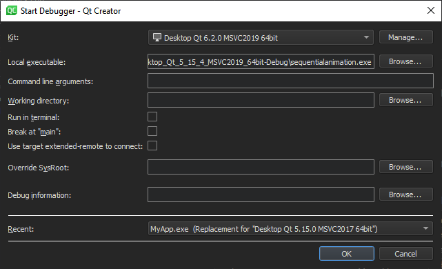 Launching the Debugger | Qt Creator Manual