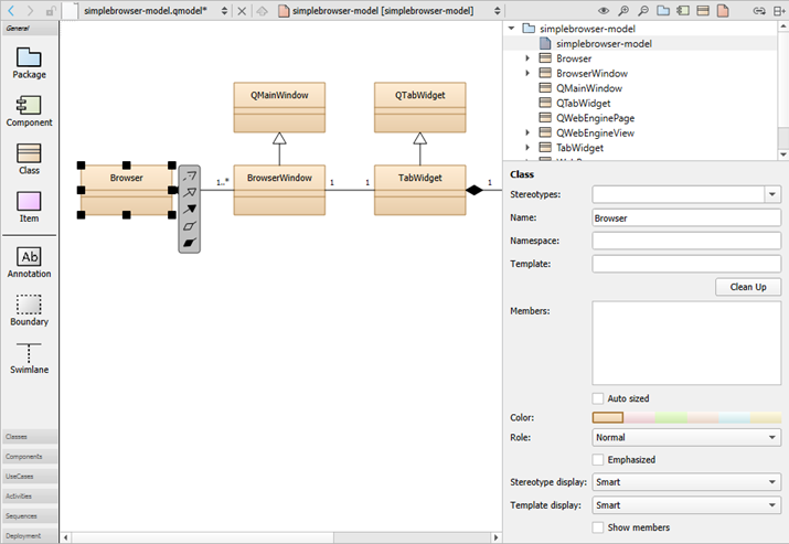 modeling   qt creator manualcreating class diagrams