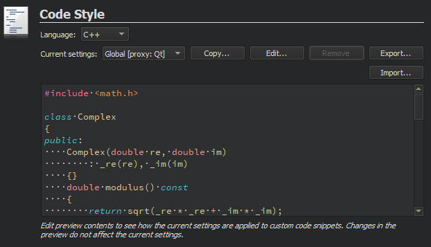 Specifying Code Style Settings | Qt Creator Manual
