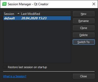 Managing Sessions | Qt Creator Manual