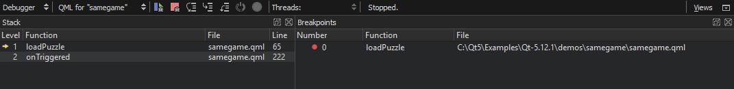 Debugging a Qt Quick Example Application   Qt Creator Manual